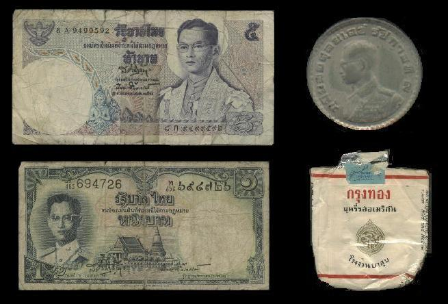 War Souvenirs - Money Bills and Coin = $1.06 US - An actual cigarette pack that Bobby opened and smoked, ulk...